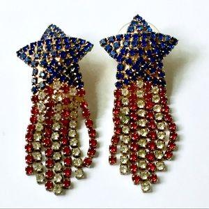 PATRIOTIC Rhinestone Star Dangle Earrings Vintage